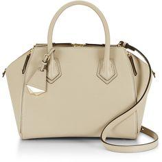 Rental Rebecca Minkoff Handbags Khaki Mini Perry Satchel ($65) ❤ liked on Polyvore featuring bags, handbags, brown, genuine leather purse, mini purse, satchel handbags, leather purse and brown leather handbags