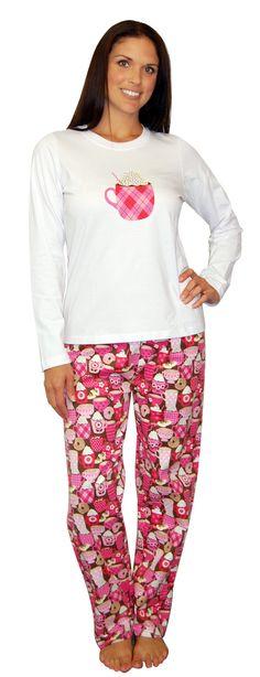 PajamaMania Hot Chocolate Flannel Pajama Set Cute Pajamas, Flannel Pajamas, Pajamas Women, Night Suit, Night Gown, Pajama Set, Pajama Pants, Indian Designer Wear, Pjs