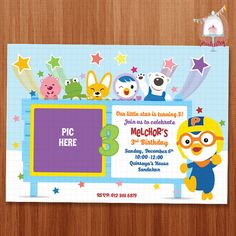 Pororo Birthday Invitation Card Printable Invitation Card