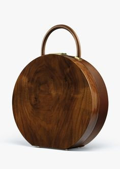 :: BUMI. Gorgeous brown purse channeling old hat box. Brilliant.