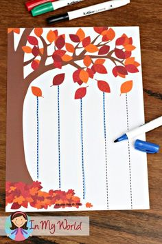 Autumn / Fall Preschool Centers: Autumn falling leaves pre-writing practice