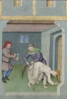 Priest Gianni, convinces Gemmata that he has a spell to turn a mare into a woman and vice versa. Bibliothèque de l'Arsenal, Ms-5070 réserve, detail of f. 347v. Boccaccio, Le livre appellé Decameron…. Flemish, 15th century.