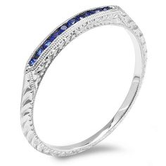 White Gold Sapphire Engraved Wedding Band by MasterPieceJewelers Beautiful Engagement Rings, Vintage Engagement Rings, Estate Jewelery, White Gold Wedding Bands, Wedding Set, Dream Wedding, Wedding Ideas, Sapphire Eternity Ring, Wedding Band Engraving