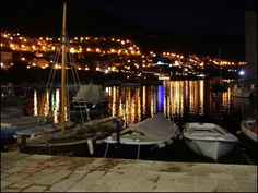Dubrovnik harbour  Kroatia 2006 Dubrovnik, Night Lights, Croatia, Places To See, To Go, Meet, Dreams, Table Decorations, People
