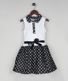 Loving this Black & White Polka Dot Drop-Waist Dress - Toddler & Girls on #zulily! #zulilyfinds