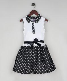 Loving this Black & White Polka Dot Drop-Waist Dress - Toddler & Girls on #zulily! #zulilyfinds