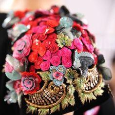 The #Schiaparelli Haute Couture Fall/Winter 2015-16 collection embraces colour with passion from its more vivid hues to pastel or subtle tones. #HauteCouture #pfw #ShockingPink @farida_khelfa #Lesage #MaisonLesage