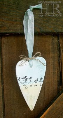 This lovely wooden heart ornament by Helen is  stamped with the sandpiper image from the Wetlands set.