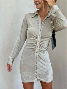 #shimmerdress #buttonupdress New Arrival Dress, Button Up Dress, I Feel Pretty, Long Sleeve Mini Dress, Chloe, Buttons, Fashion Outfits, Shirt Dress, Sleeves