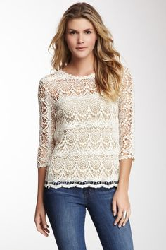 Scallop Lace Tee by Fever on @HauteLook