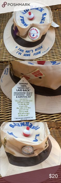 Laid Back Fisherman retired hat gag gift 1988 Amazing!  New with tags!  Not going to find this anywhere! Vintage Accessories Hats