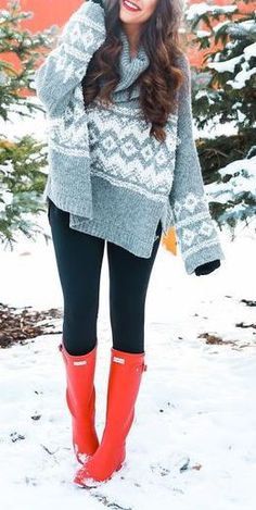 #winter #fashion / knit + red color pop