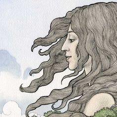 Gaia. Earth Goddess, sacred spirit, intricate drawing, watercolor painting, fantasy, myth, original art print.