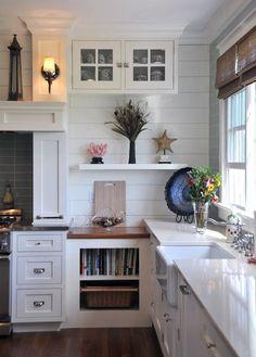 LOVE. All-white. unusual cabinets