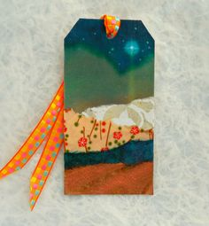 Book Mark, Book Tag, Torn Paper Collage, Art Tag, Teal Blue, Copper via Etsy