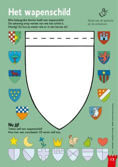 Het wapenschild - zelf ontwerpen @keireeen Medieval Crafts, Medieval Party, Castles Topic, Chateau Moyen Age, Castle Crafts, School Themes, Kids Church, Coat Of Arms, Middle Ages
