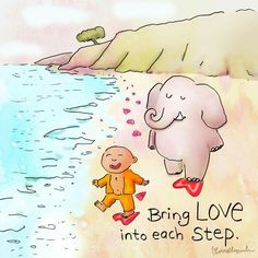 Bring love into each step - Buddha DoodlesClick the link now to find the center in you with our amazing selections of items ranging from yoga apparel to meditation space decor! Buddha Wisdom, Buddha Quote, Buddha Sayings, Tiny Buddha, Little Buddha, Buddha Buddha, Buddah Doodles, Buddha Thoughts, Meditation Quotes
