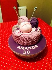 "My friends mum loves to knit, so for her birthday I made her a knitting themed cake, in her favourite colour - Purple! The ""balls of wool"" we're actually Terry's chocolate oranges wrapped in fondant Bolo Tipo Pullman, Knitting Cake, Knitting Wool, Sewing Cake, Crochet Cake, Fantasy Cake, 60th Birthday Cakes, Retirement Cakes, Cake Decorating Techniques"