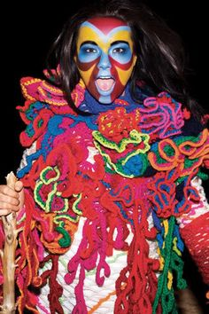 bjork's crazy face paint and crochet costume