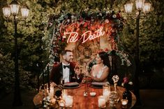 This Glam Franciscan Gardens Wedding Takes 'Til Death Do Us Part to the Next Level - Fall Wedding Inspiration - Neon wedding sign Wedding Reception Timeline, Wedding Table, Wedding Venues, Spring Wedding, Garden Wedding, Perfect Wedding, Dream Wedding, Gothic Wedding, Edgy Wedding