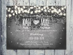 Printed Card - 50-170 Sets - Romantic Garden and Night Light Wedding Invitation and Reply Card Set - Wedding Stationery - ID210