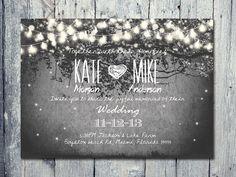 Digital - Printable Files - Romantic Garden and Night Light Wedding Invitation Card - Wedding Stationery - ID210