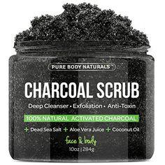 Charcoal Scrub with Coconut Oil - 10 oz. Facial Scrub, Pore Minimizer & Reduces Wrinkles, Acne Scars, Blackheads & Anti Cellulite Treatment, Great as Body Scrub, Body & Face Cleanser