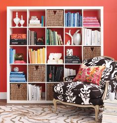 """When styling your bookshelves, include more than books. Mix in a variety of items, such as boxes, baskets, framed artwork or photographs, vases, collections and candles. Your options are limitless -- I often like to include a pretty handbag, depending on what room the shelves are in."" -Ann Marie Favot"