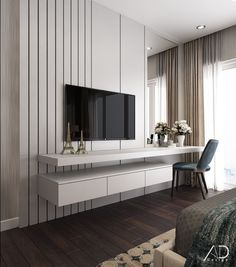 48 Cool Bedroom Tv Wall Design Ideas - Because the average person sleeps around hours each day, we have to pay attention to bedroom decoration. It has been said and proven that you can . Bedroom Tv Unit Design, Luxury Bedroom Design, Tv Wall Design, Home Room Design, Living Room Designs, Design Case, Interior Design, Bedroom Tv Wall, Master Bedroom