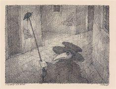 Pestarzt mit Ratte von Paul Flora