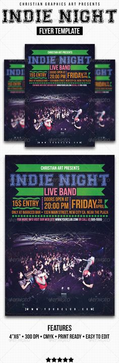 Indie Night Flyer - V1 ...  band, bar, club, flyer, indie, indie night flyer, live band, music, night, party flyer, print, professional, retro, template