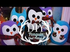 These DIY penguin and owl pillows really are super cute! Instructions for sewing or hot gluing. Flannel pillow with felt. Could make these small enough to fit in a shoebox - pillow and stuffed animal in one!