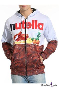 Unisex Drawstring Hooded 3D Food Printed Color Block Zip Up Sweatshirt