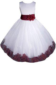 AMJ Dresses Inc Girls White/burgundy Flower Girl Pageant Dress Holiday Dress Price:$23.99 - $44.99