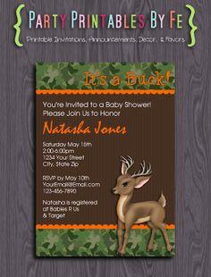 Printable Baby Shower Invitation ~ Hunters BABY Buck or BABY Doe Shower Invitation ~ I149