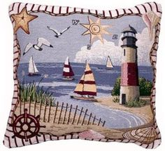 Coastal Memories Decorative Tapestry Toss Pillow: Amazon.com: Home & Kitchen