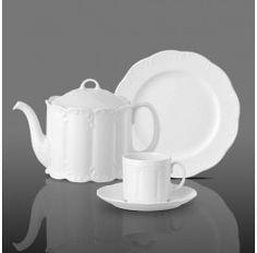Juego de té de 6 servicios y 21 piezas en porcelana apta para lavavajillas. El diseño original es de Richard Scharrer para Rosenthal.
