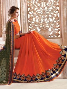 Orange and Green Georgette Saree with Embroidery Work