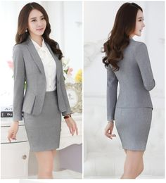 Formal Black Blazer Women Business Suits with Skirt and Top Sets Elegant  Ladies Office Suits Work Wear Uniforms OL Style 6620b9693bf4