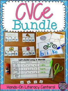 CVCe Literacy Center Bundle- 91 pages of interactive CVCe, magic e, bossy e, or silent e word work or literacy center activities that are perfect for first and second grade $