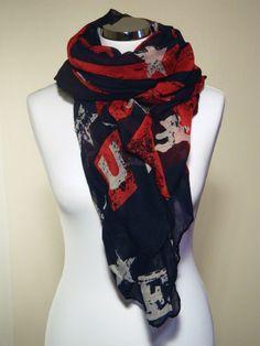 "Foulard étole Lulu Castagnette ""Lulu 38"" étoiles, rayures effet drapeau américain bleu, rouge, blanc"