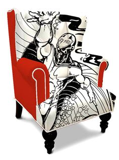 This comic book inspired wingback chair is epic in almost every way. I'm not a big fan of red though. It's too bad it looks like these aren't available anymore.
