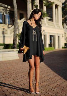 Black Plain Hollow-out Split Sleeve Chiffon Dress