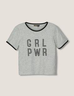 T-shirt manches courtes à message Girl Power