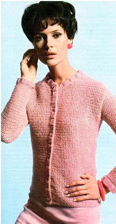 You are ordering a beautiful Crochet Cardigan Sweater Pattern. Long sleeve cardigan sweater is button down and features ribbon trim. Pattern uses size F