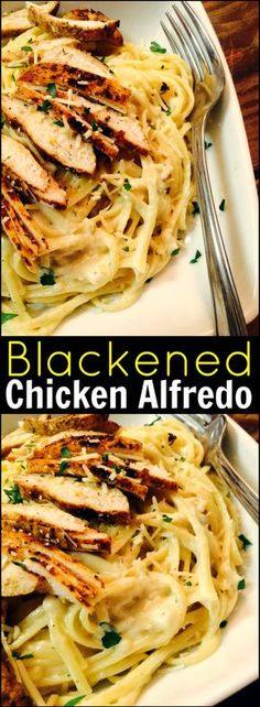 Blackened Chicken Alfredo | Aunt Bee's Recipes-cook chicken in olive oil (cooking spray), then sautée onions in same pan (scraping bottom of pan). Only add 4 Tbsp butter.  Add 2 Tbsp sun dried tomatoes before serving.