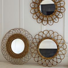 Woven Mirrors handcrafted of rattan with a natural finish!