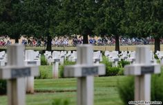 Stage 6 paid homage to World World I. Here the peloton passes the Rancourt World War I cemetery early in the race. Over 50 Tour de France ri...  Please follow us @ http://www.pinterest.com/wocycling