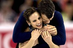 Meagan Duhamel and Eric Radford of Canada embrace following the Pairs Free Skate Program portion of the 2016 ISU World Figure Skating Championships at the TD Garden in Boston, Massachusetts, USA 02 April 2016.