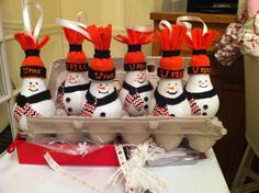 University of Pikeville snowman ornaments #handmade #aDozen #gobears